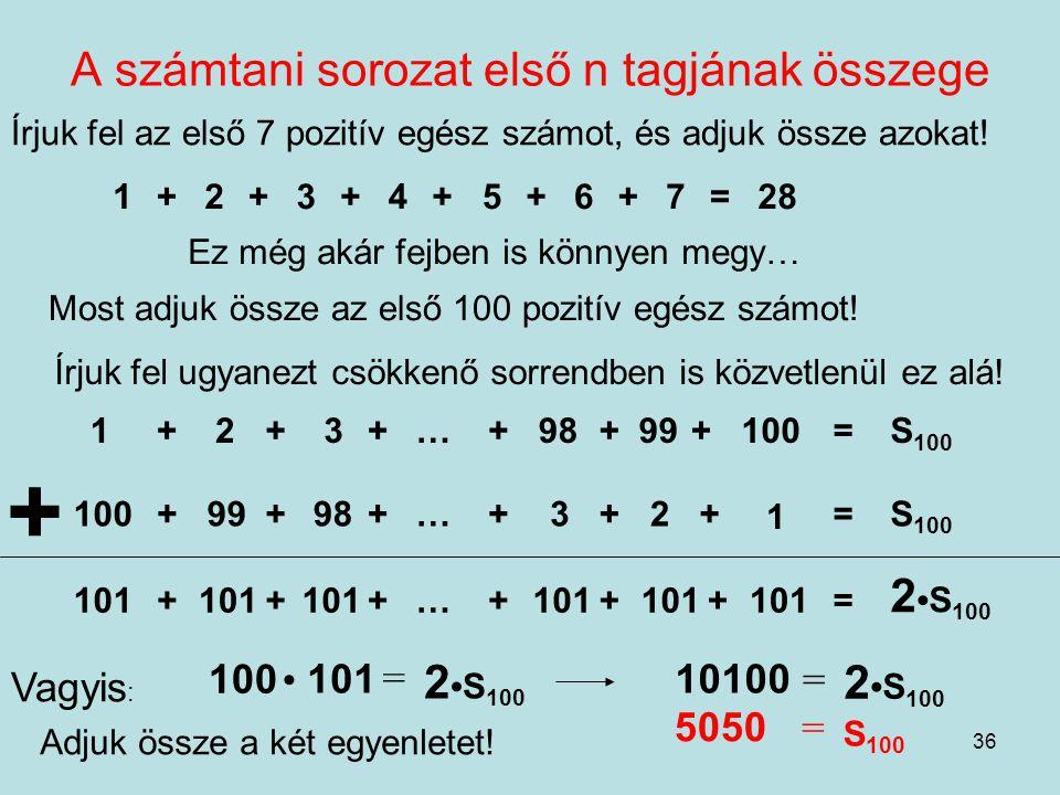 A számtani sorozat első n tagjának összege