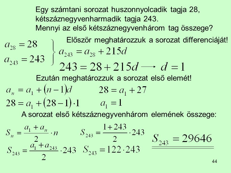 Egy számtani sorozat huszonnyolcadik tagja 28, kétszáznegyvenharmadik tagja 243. Mennyi az első kétszáznegyvenhárom tag összege