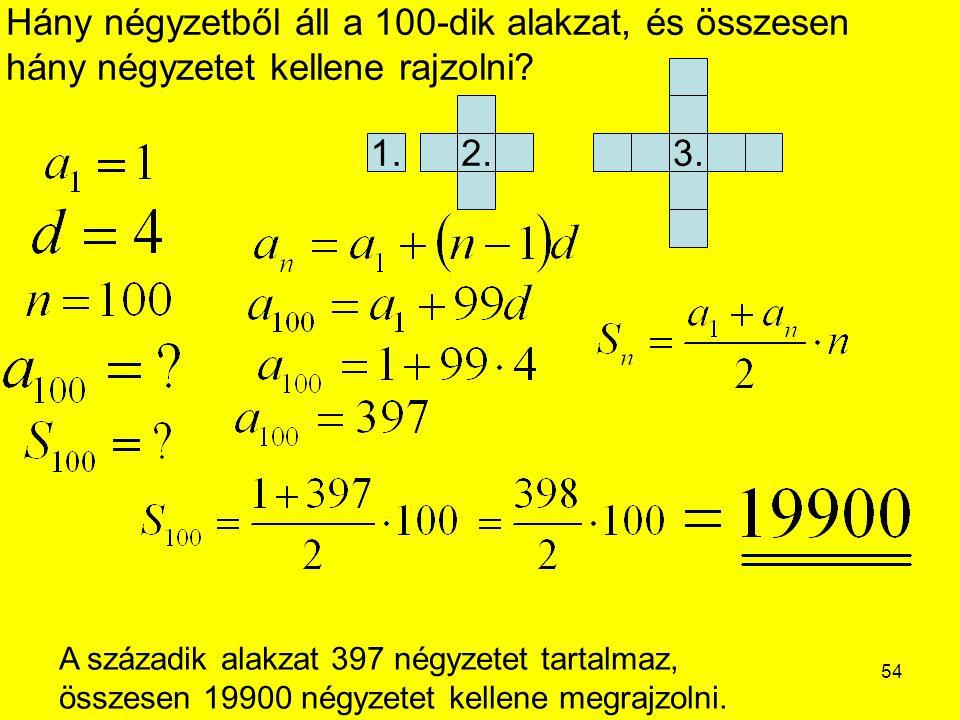 Hány négyzetből áll a 100-dik alakzat, és összesen hány négyzetet kellene rajzolni