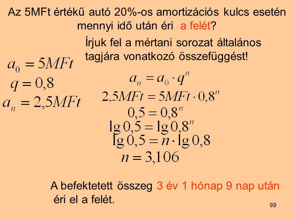 Az 5MFt értékű autó 20%-os amortizációs kulcs esetén mennyi idő után éri a felét