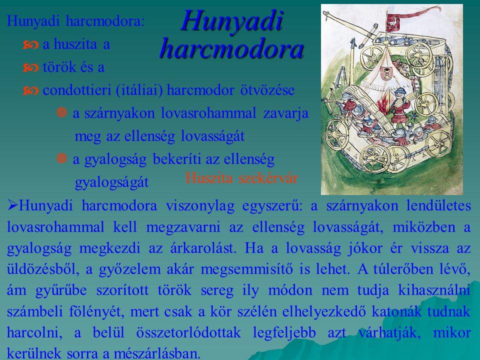 Hunyadi harcmodora Hunyadi harcmodora:  a huszita a  török és a