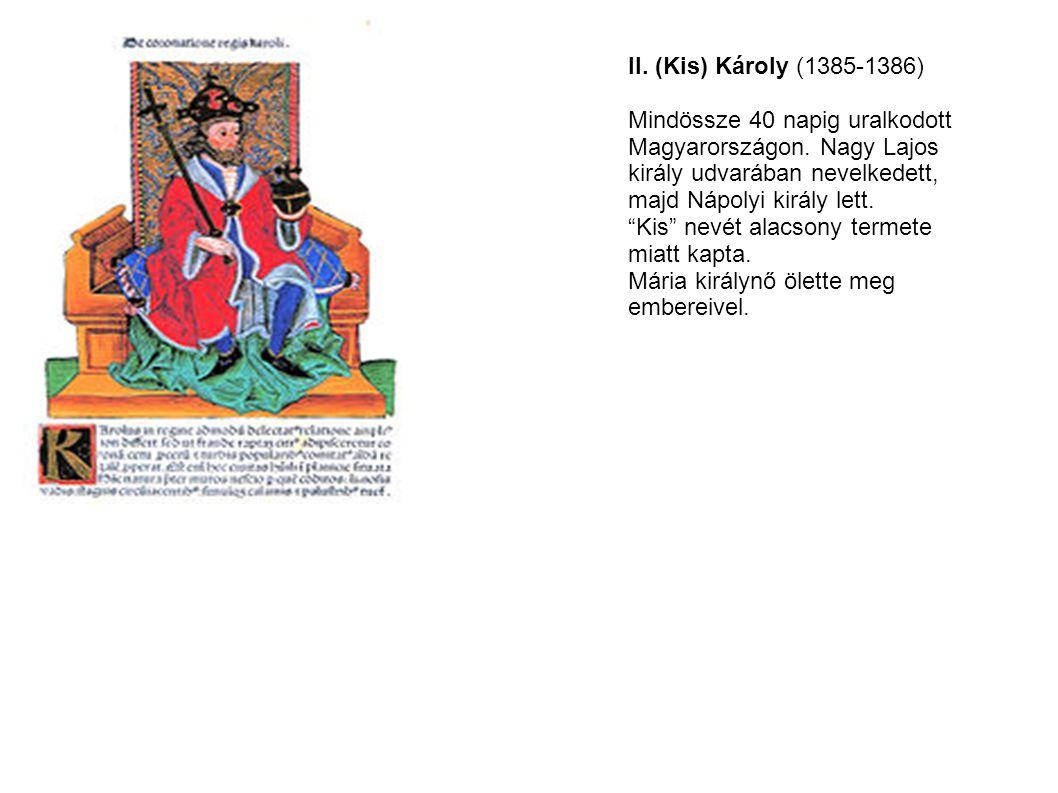 II. (Kis) Károly (1385-1386) Mindössze 40 napig uralkodott. Magyarországon. Nagy Lajos. király udvarában nevelkedett,