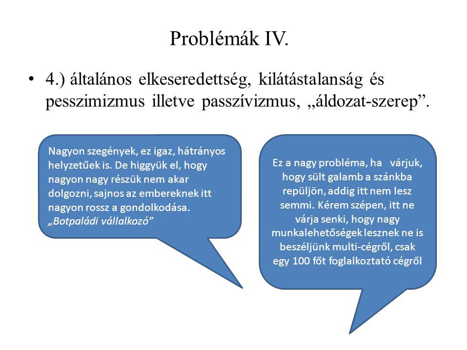 """Problémák IV. 4.) általános elkeseredettség, kilátástalanság és pesszimizmus illetve passzívizmus, """"áldozat-szerep ."""