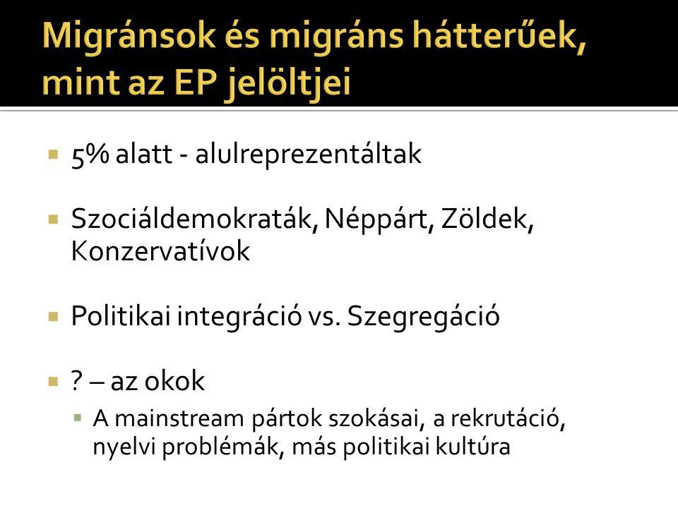 Migránsok és migráns hátterűek, mint az EP jelöltjei