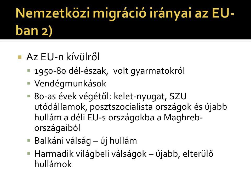 Nemzetközi migráció irányai az EU-ban 2)