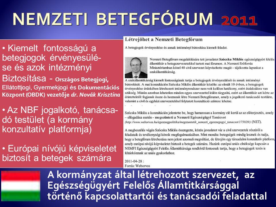 NEMZETI BETEGFÓRUM 2011 Kiemelt fontosságú a. betegjogok érvényesülé- se és azok intézményi. Biztosítása - Országos Betegjogi,