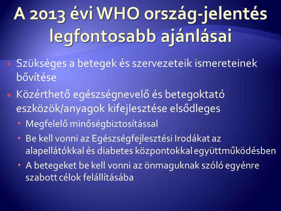 A 2013 évi WHO ország-jelentés legfontosabb ajánlásai