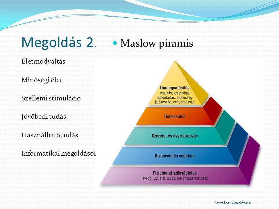 Megoldás 2. Maslow piramis Életmódváltás Minőségi élet