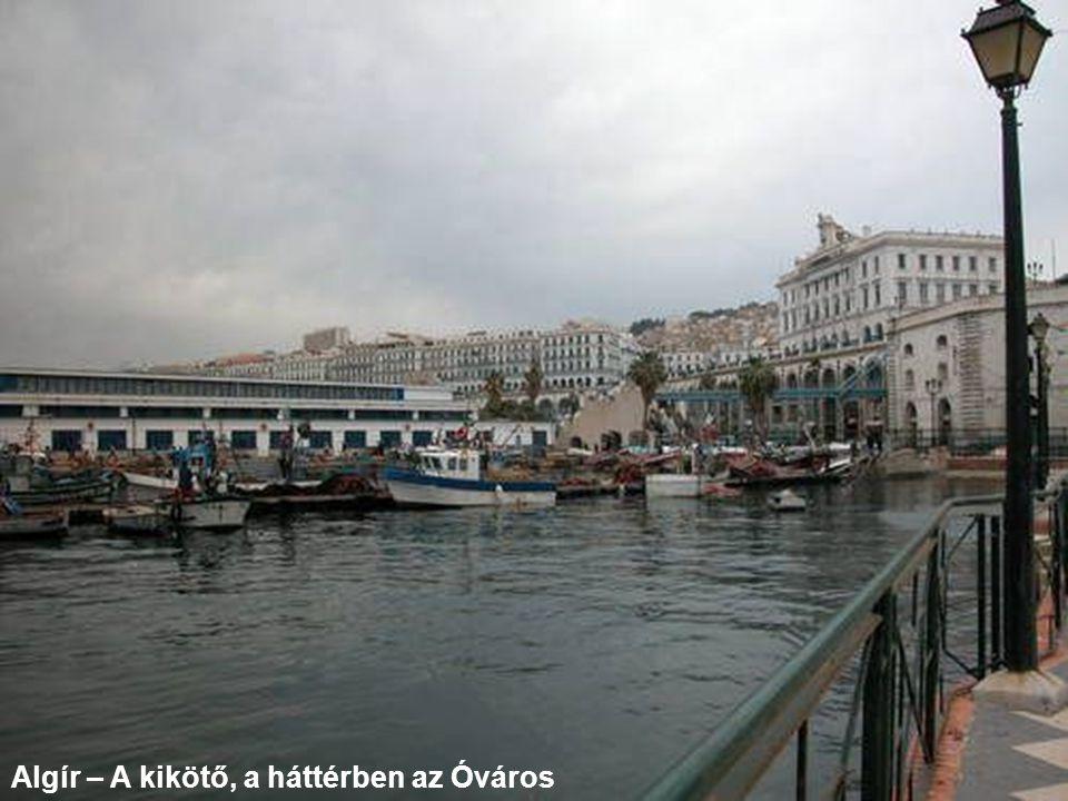 Algír – A kikötő, a háttérben az Óváros