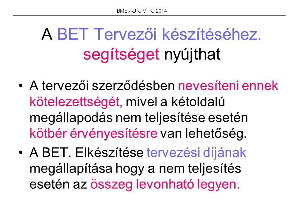 A BET Tervezői készítéséhez. segítséget nyújthat