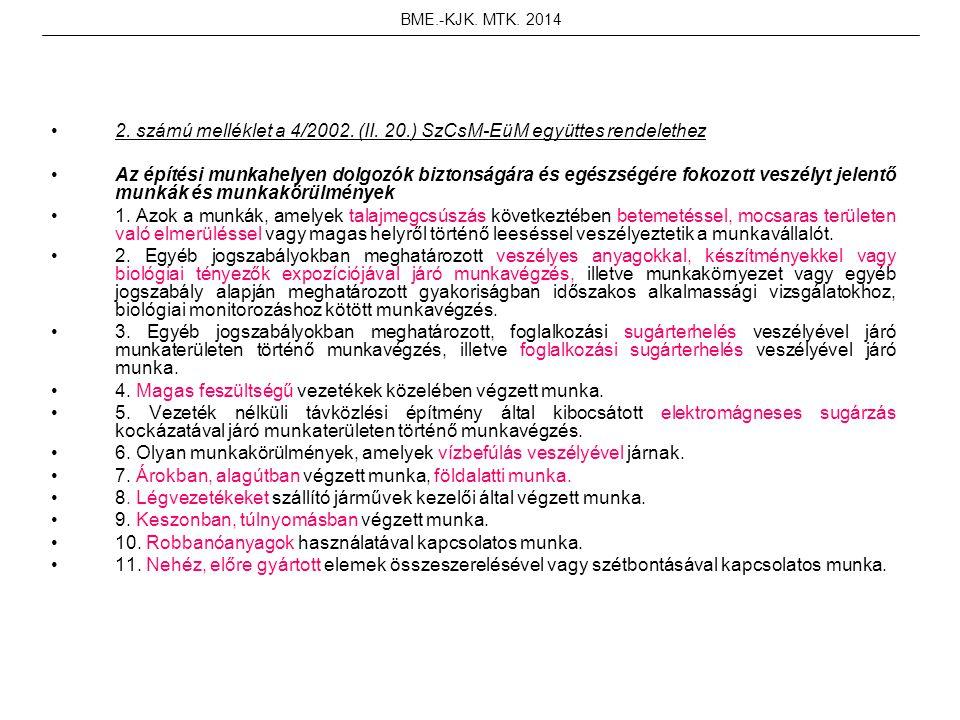 2. számú melléklet a 4/2002. (II. 20.) SzCsM-EüM együttes rendelethez