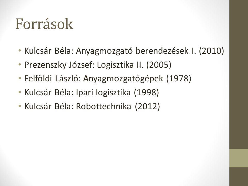 Források Kulcsár Béla: Anyagmozgató berendezések I. (2010)