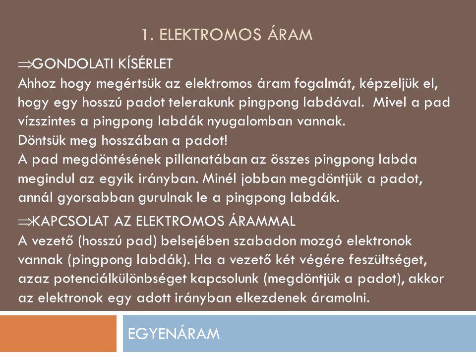 1. Elektromos áram EGYENÁRAM GONDOLATI KÍSÉRLET