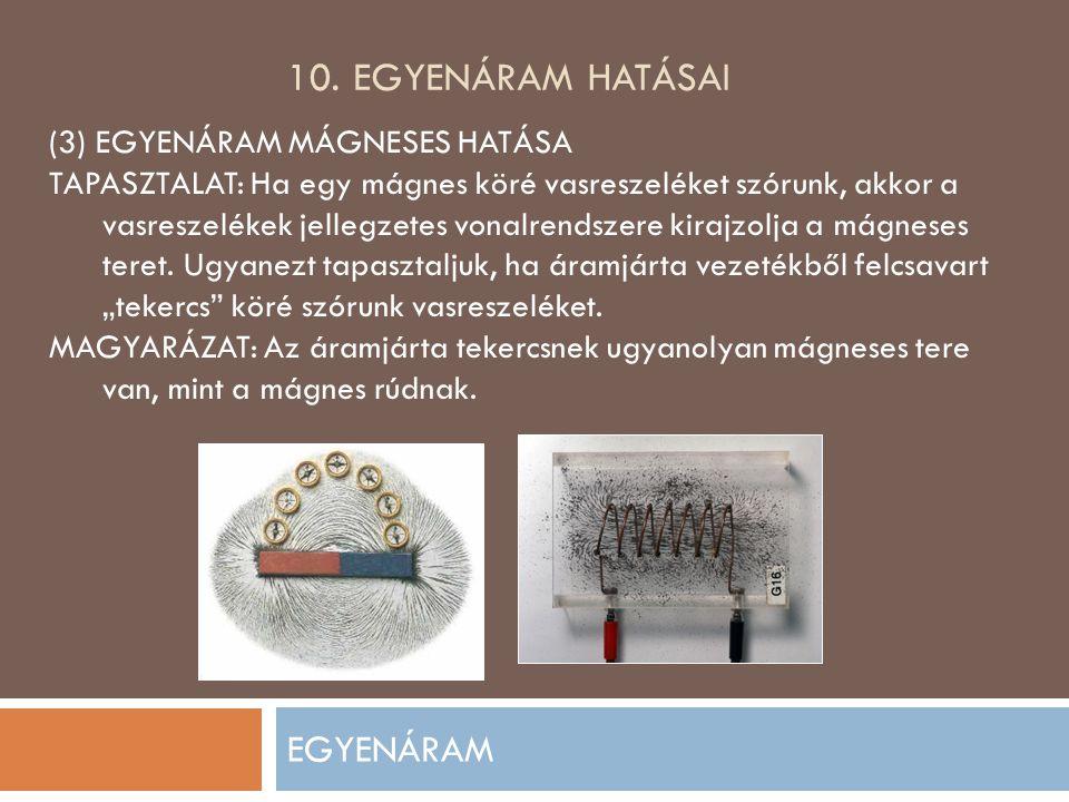 10. Egyenáram hatásai EGYENÁRAM (3) EGYENÁRAM MÁGNESES HATÁSA
