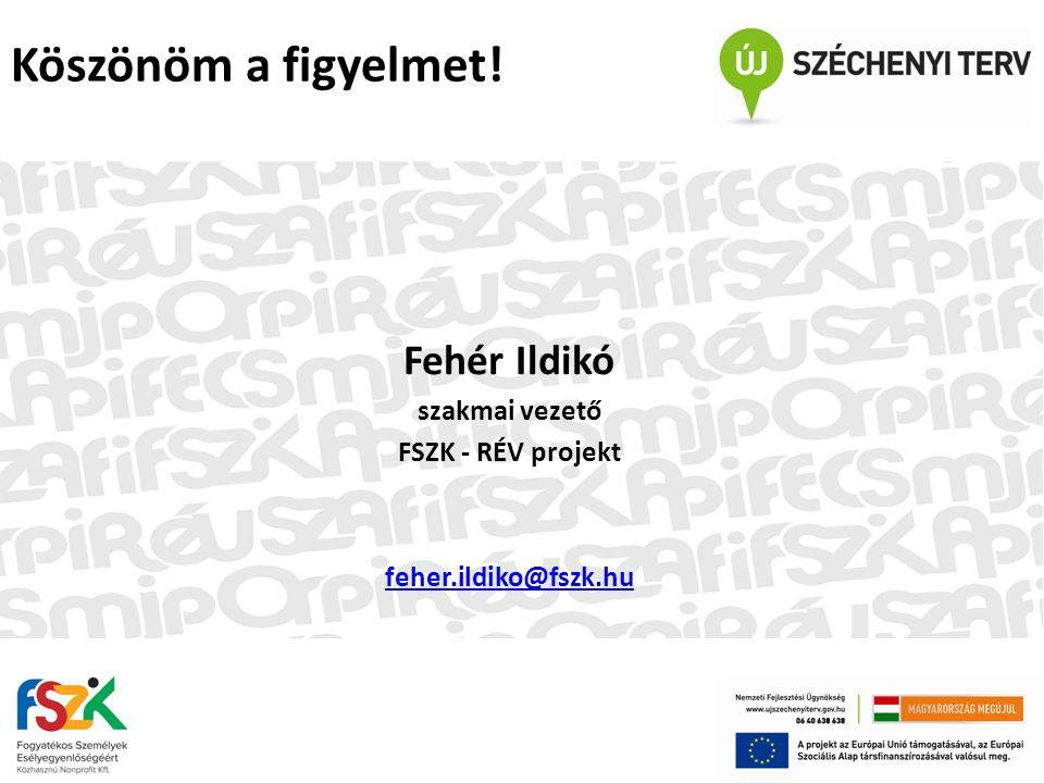 Fehér Ildikó szakmai vezető FSZK - RÉV projekt feher.ildiko@fszk.hu