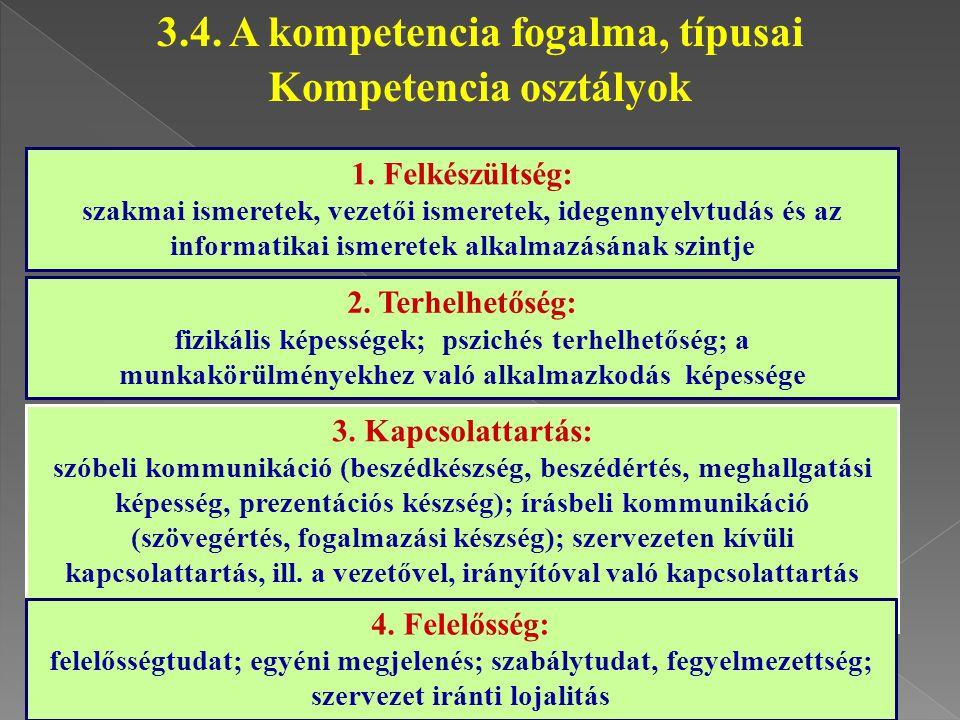 3.4. A kompetencia fogalma, típusai Kompetencia osztályok
