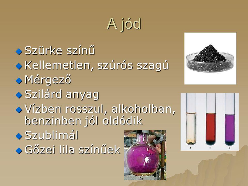A jód Szürke színű Kellemetlen, szúrós szagú Mérgező Szilárd anyag