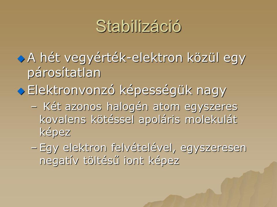 Stabilizáció A hét vegyérték-elektron közül egy párosítatlan