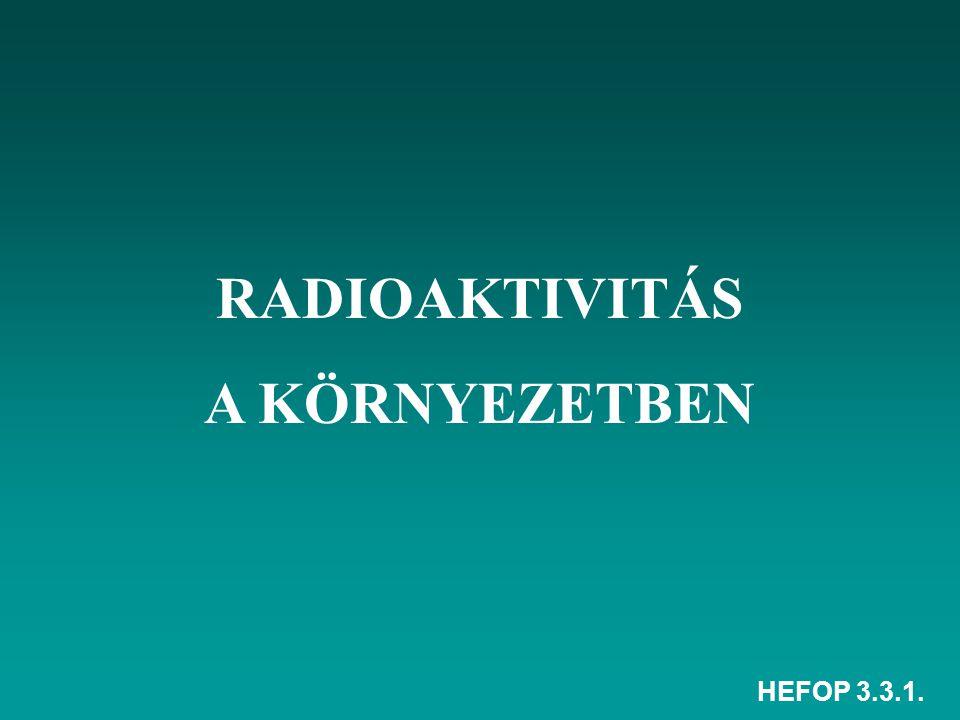 RADIOAKTIVITÁS A KÖRNYEZETBEN