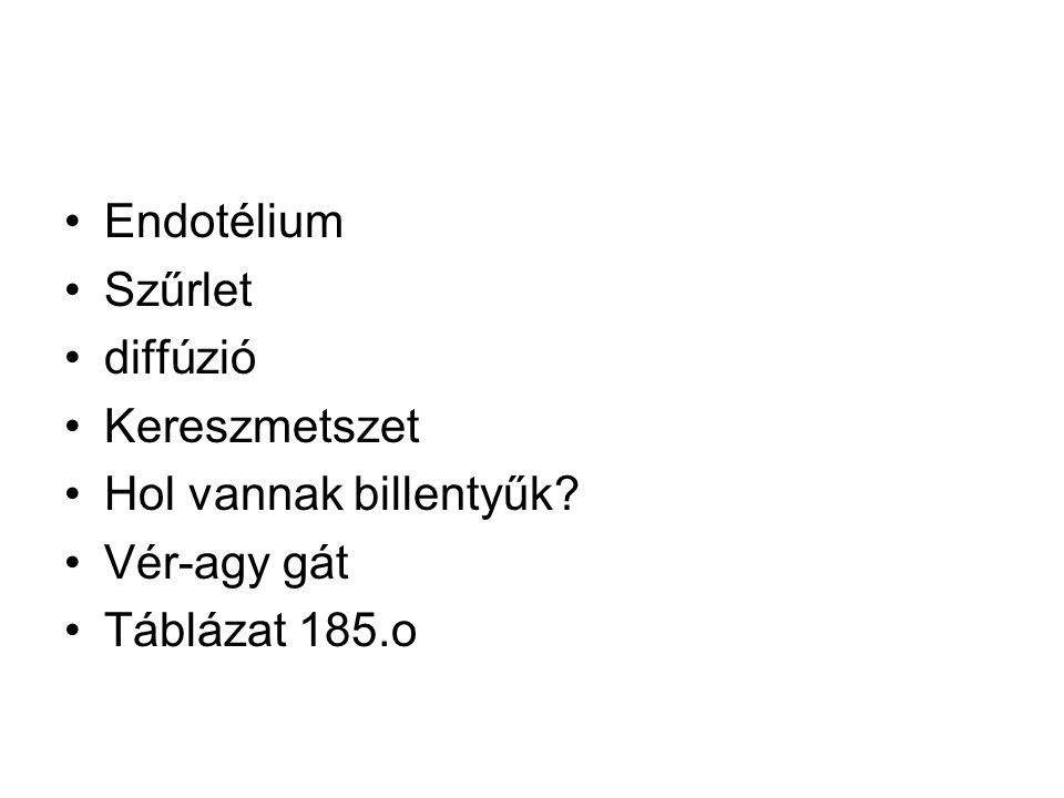 Endotélium Szűrlet diffúzió Kereszmetszet Hol vannak billentyűk Vér-agy gát Táblázat 185.o