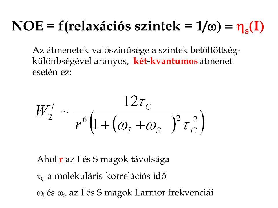 NOE = f(relaxációs szintek = 1/w) = hs(I)