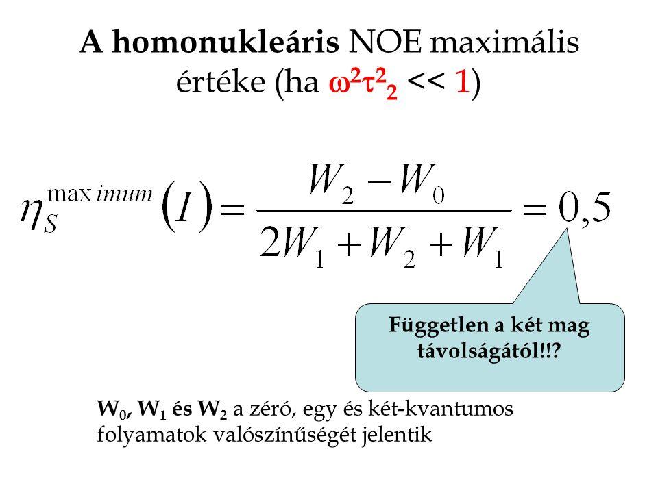 A homonukleáris NOE maximális értéke (ha w2t22 << 1)