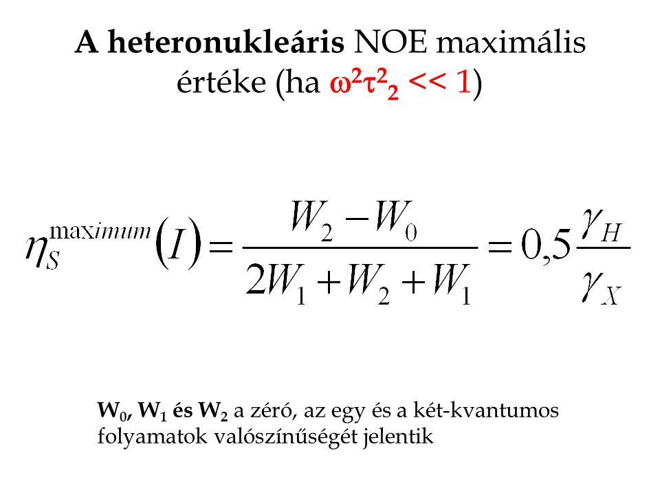 A heteronukleáris NOE maximális értéke (ha w2t22 << 1)