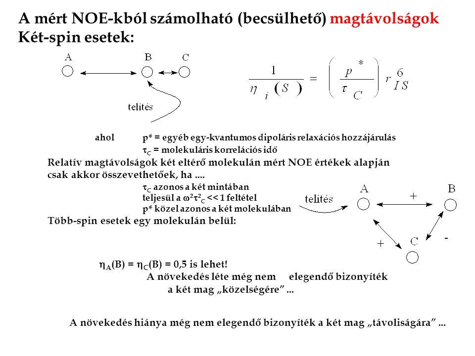 A mért NOE-kból számolható (becsülhető) magtávolságok Két-spin esetek: