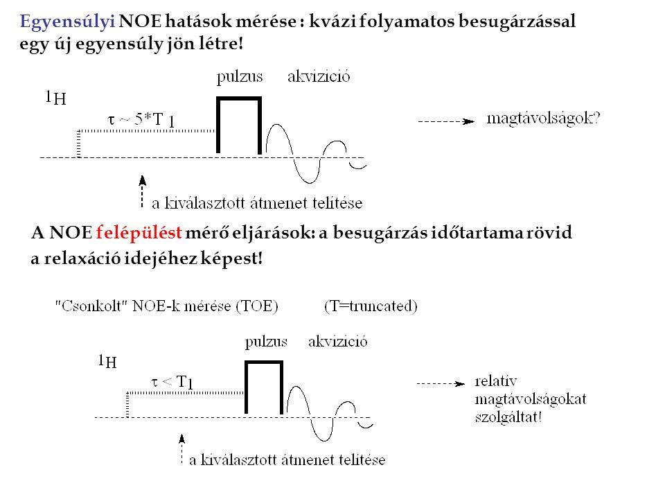 Egyensúlyi NOE hatások mérése : kvázi folyamatos besugárzással egy új egyensúly jön létre!