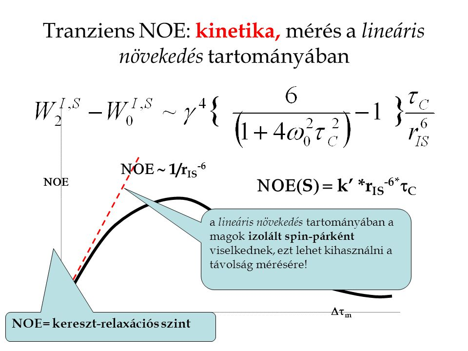 Tranziens NOE: kinetika, mérés a lineáris növekedés tartományában