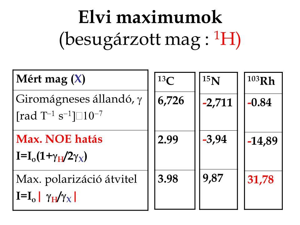 Elvi maximumok (besugárzott mag : 1H)