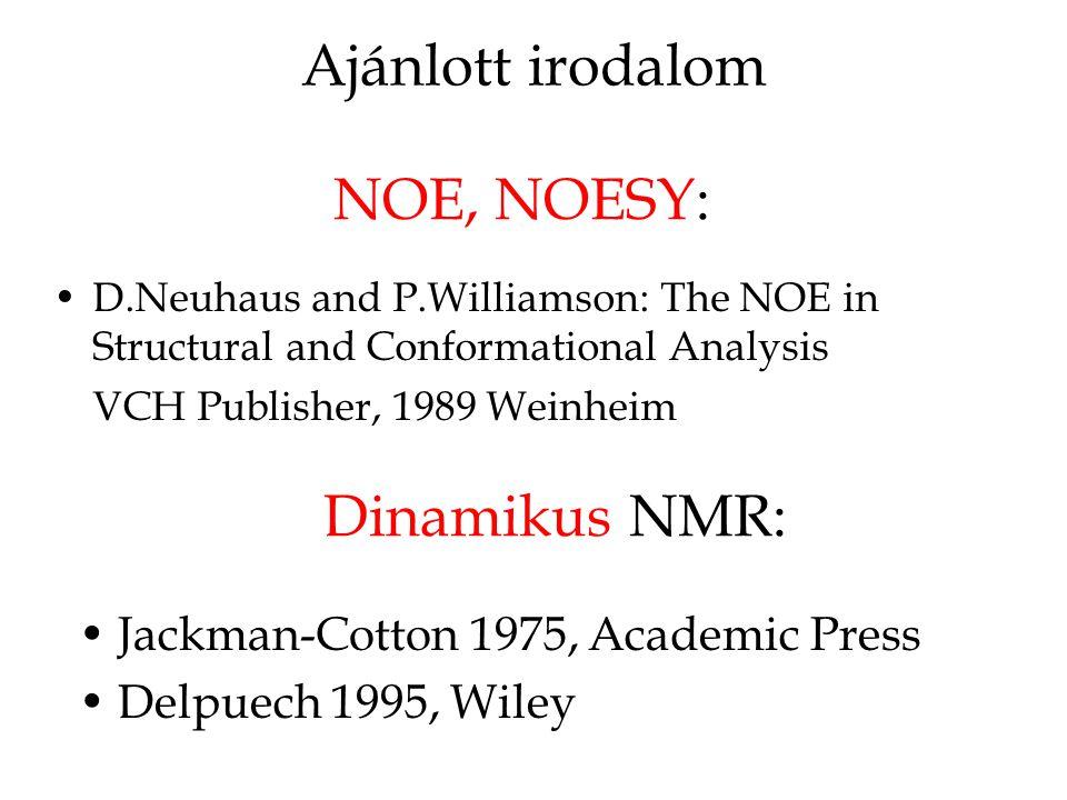 Ajánlott irodalom NOE, NOESY: Dinamikus NMR:
