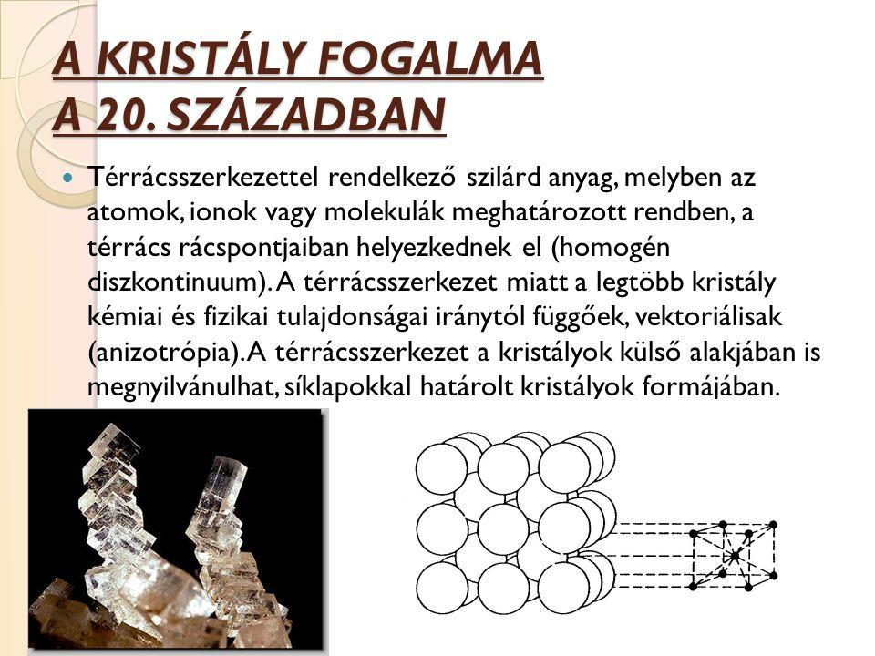 A KRISTÁLY FOGALMA A 20. SZÁZADBAN