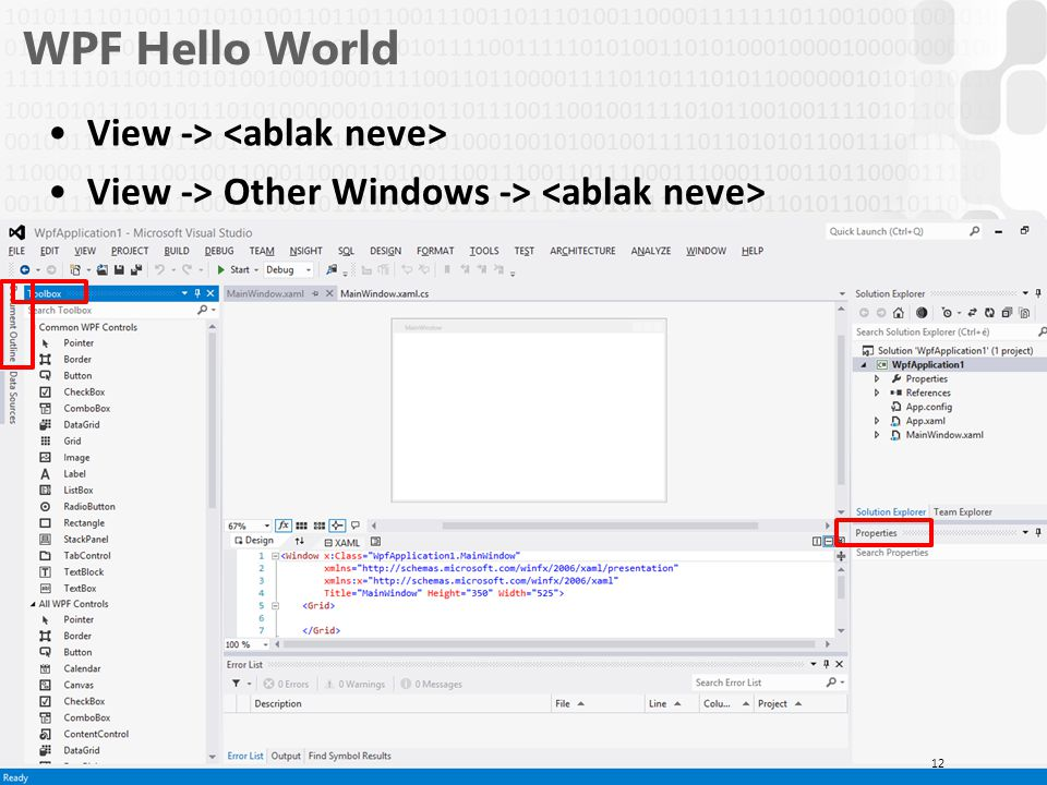 WPF Hello World View -> <ablak neve>