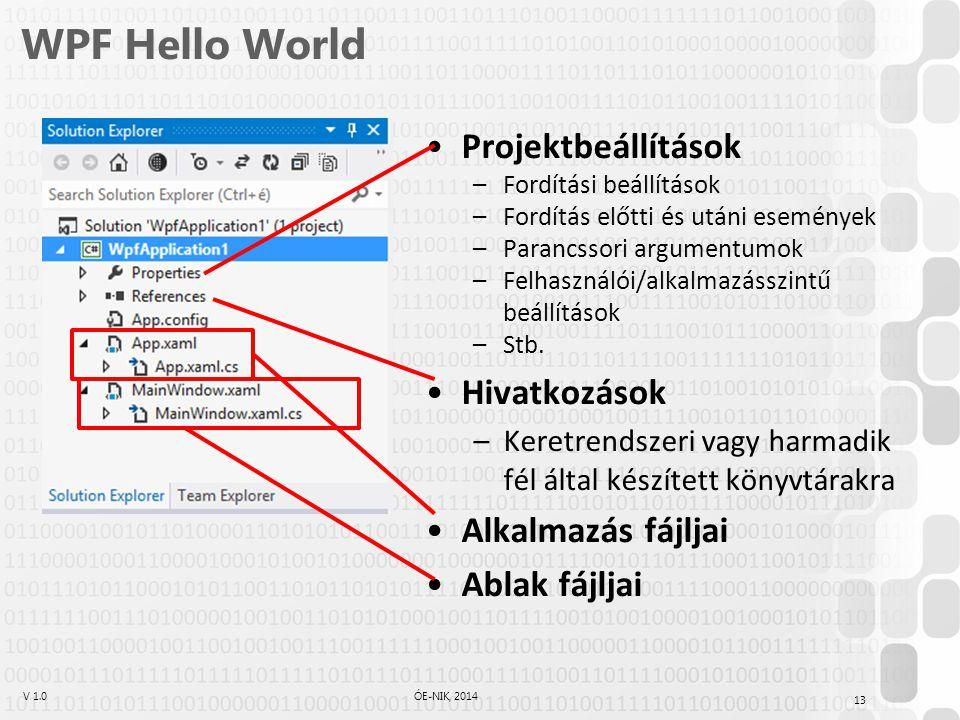 WPF Hello World Projektbeállítások Hivatkozások Alkalmazás fájljai