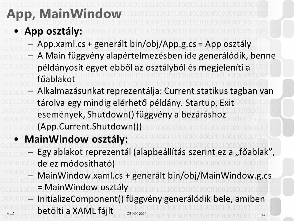 App, MainWindow App osztály: MainWindow osztály: