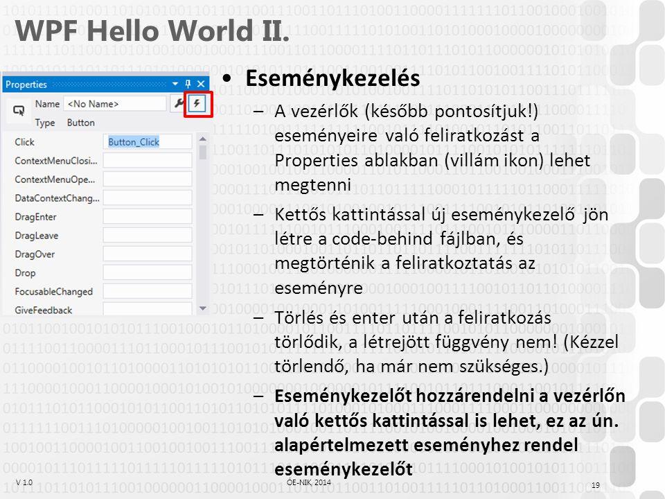 WPF Hello World II. Eseménykezelés