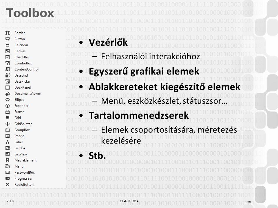 Toolbox Vezérlők Egyszerű grafikai elemek