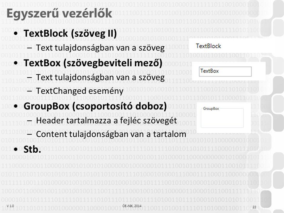 Egyszerű vezérlők TextBlock (szöveg II) TextBox (szövegbeviteli mező)