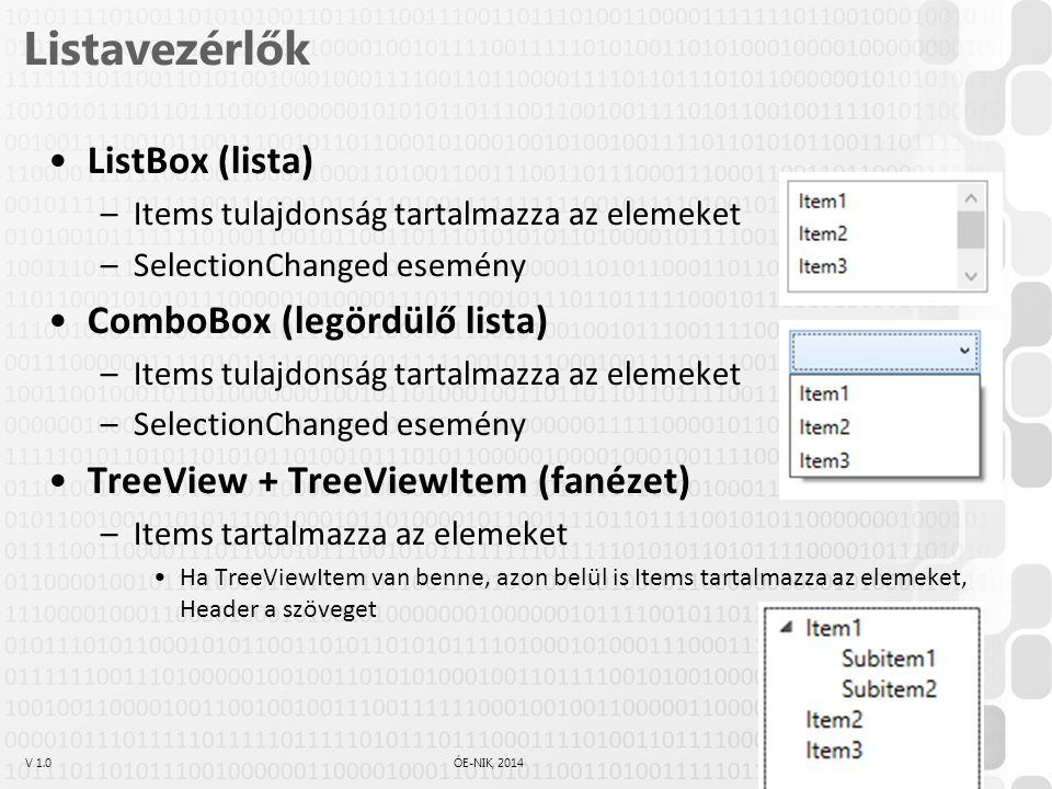 Listavezérlők ListBox (lista) ComboBox (legördülő lista)