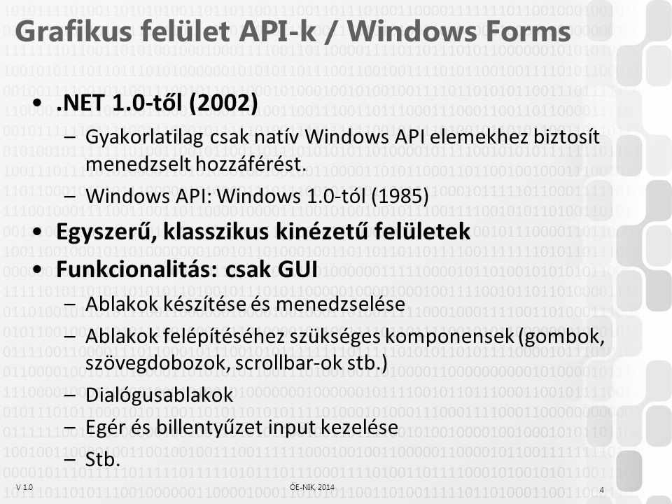 Grafikus felület API-k / Windows Forms
