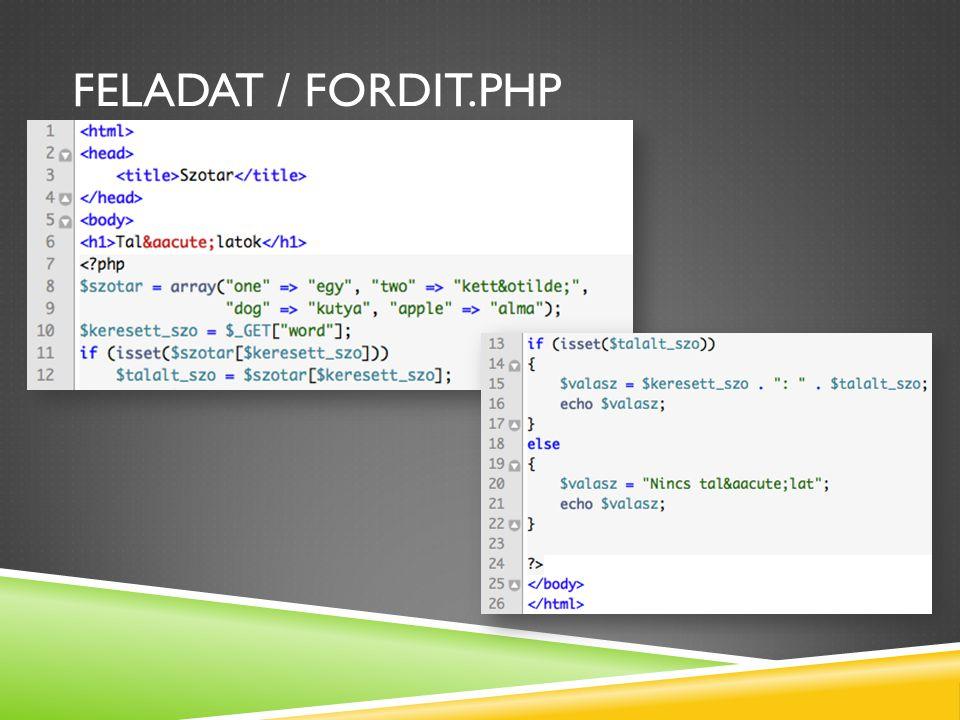 Feladat / fordit.php