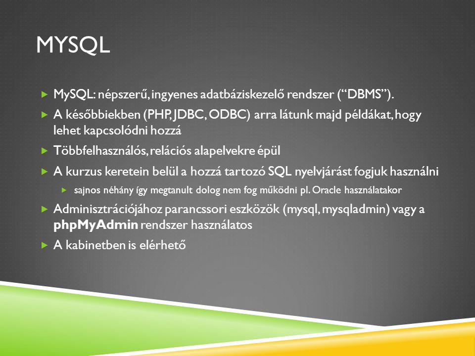 Mysql MySQL: népszerű, ingyenes adatbáziskezelő rendszer ( DBMS ).