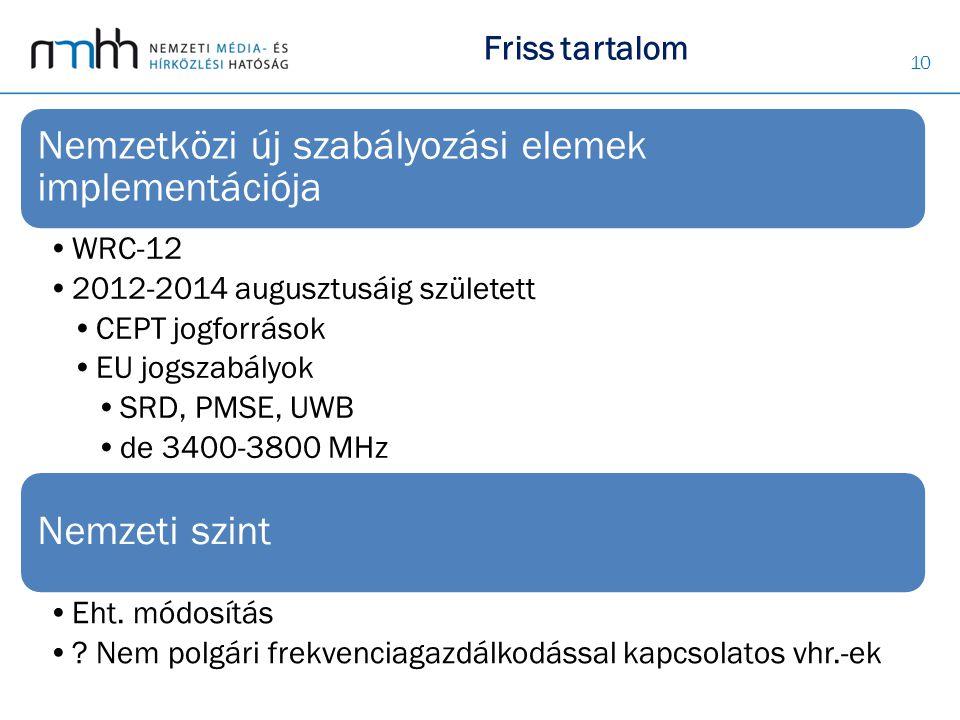 Nemzetközi új szabályozási elemek implementációja