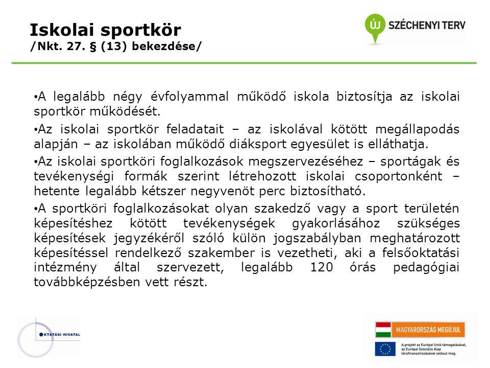 Iskolai sportkör /Nkt. 27. § (13) bekezdése/