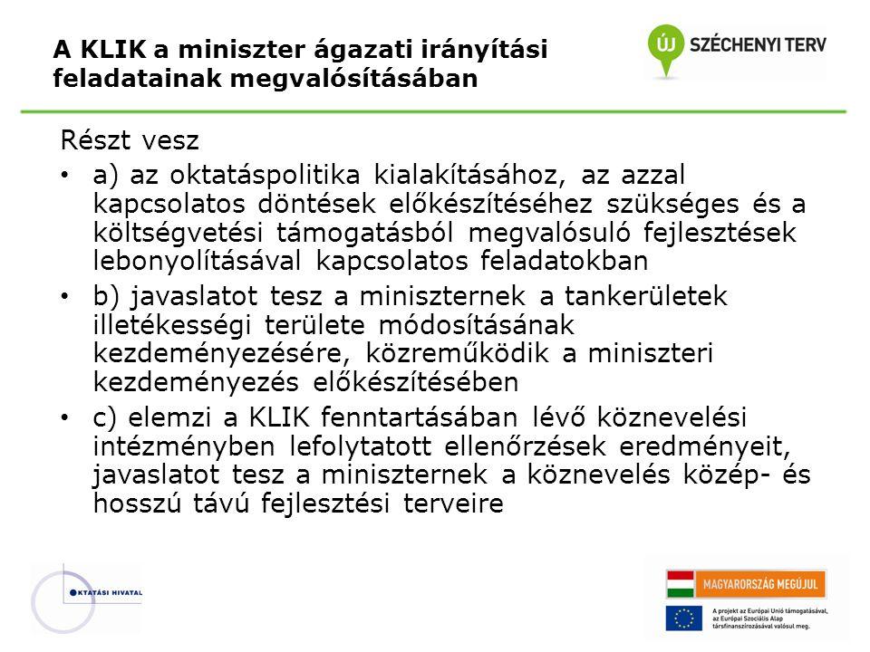 A KLIK a miniszter ágazati irányítási feladatainak megvalósításában