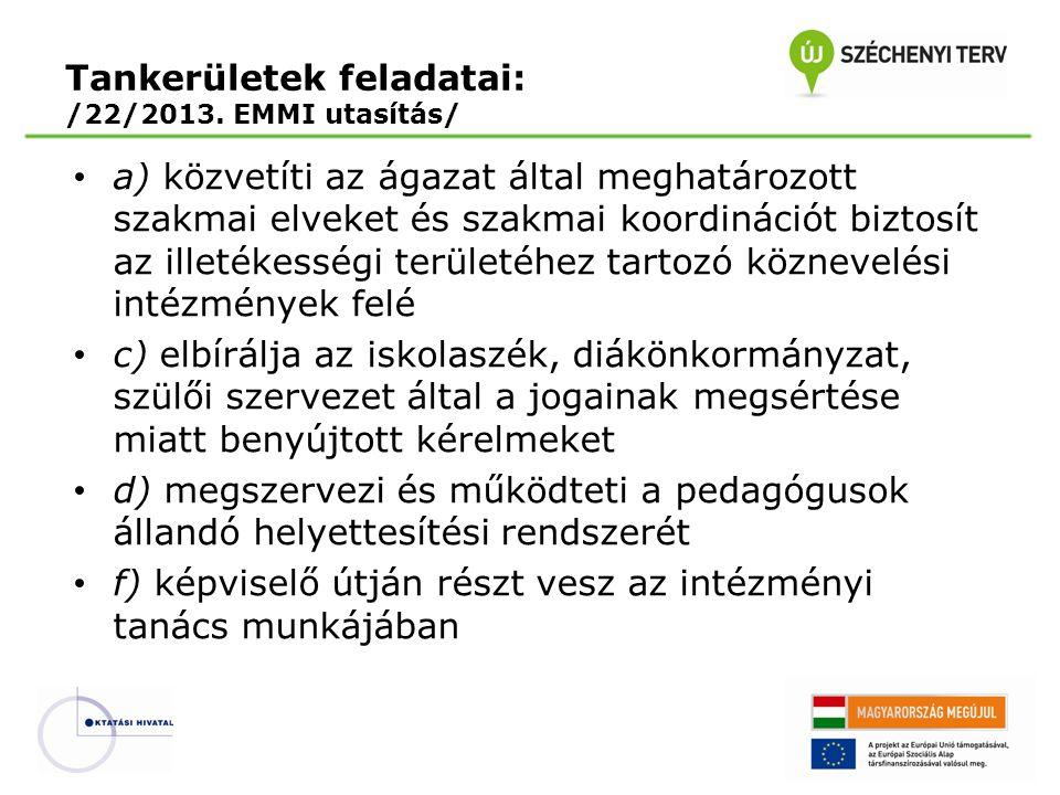 Tankerületek feladatai: /22/2013. EMMI utasítás/