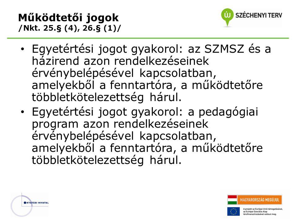 Működtetői jogok /Nkt. 25.§ (4), 26.§ (1)/