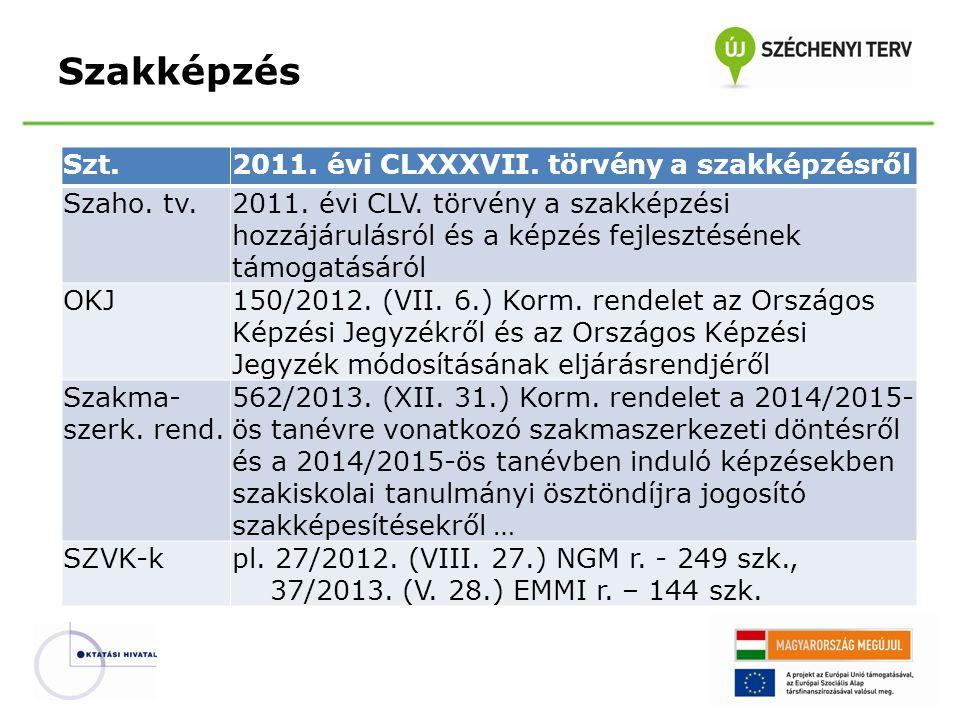 Szakképzés Szt. 2011. évi CLXXXVII. törvény a szakképzésről Szaho. tv.
