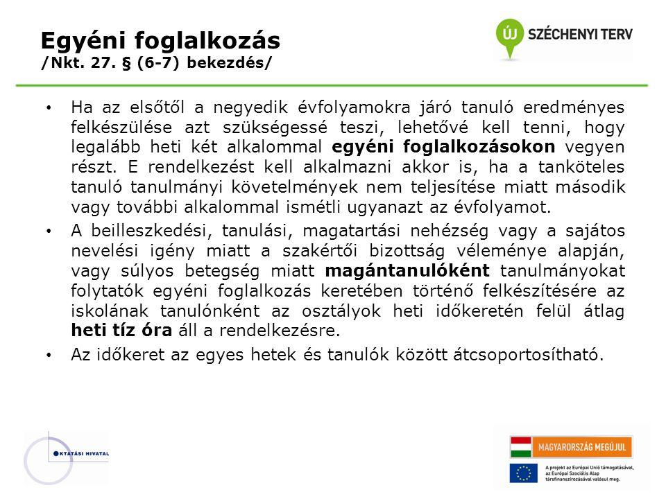 Egyéni foglalkozás /Nkt. 27. § (6-7) bekezdés/